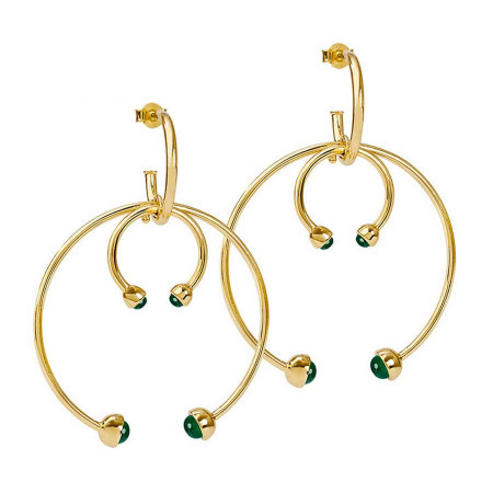 Double Earhoops Green Onyx Ohrstecker