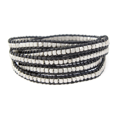 Silver vs. Black Leather Wickelarmband