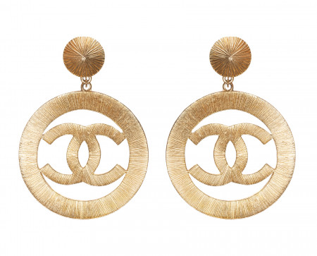 Vintage Chanel Jumbo Sunburst Icon hoop clips