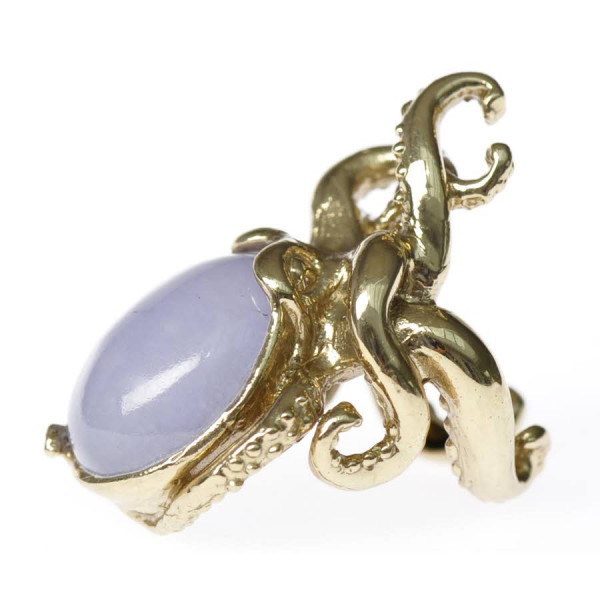 Octopus Ring with Sky Blue Jade